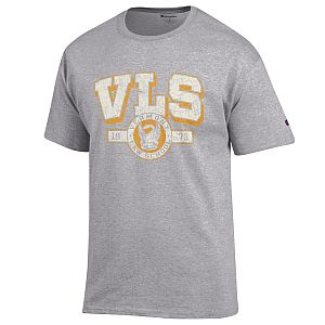T-shirt distressed lettering grey
