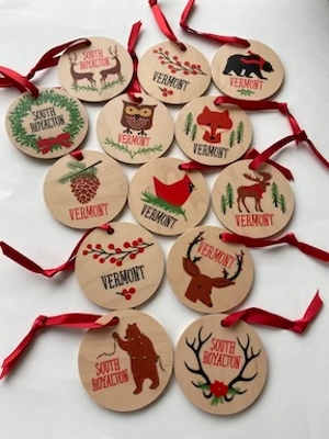 Vermont Wooden Holiday Ornaments