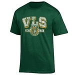 T-shirt distressed lettering green