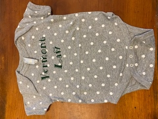 Vermont Law Onesie with Polka Dots - Grey