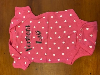 Vermont Law Onesie with Polka Dots - Pink