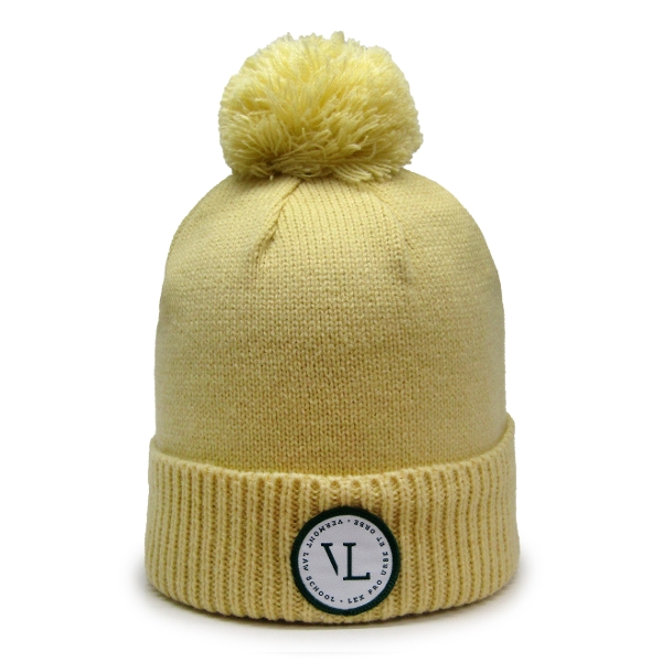 VL Knit Beanie with Pom-Pom